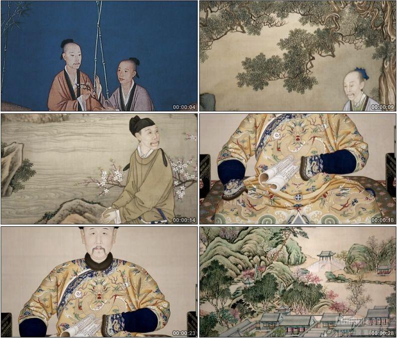 YC1500-古代文人画人物画像皇帝画像风景画像高清视频素材