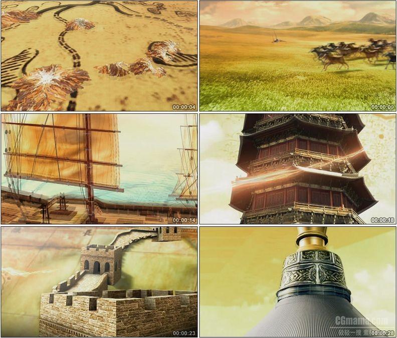 YC1518-三维动画片头世界闻名历史古迹奔马高塔天坛山脉高清视频素材