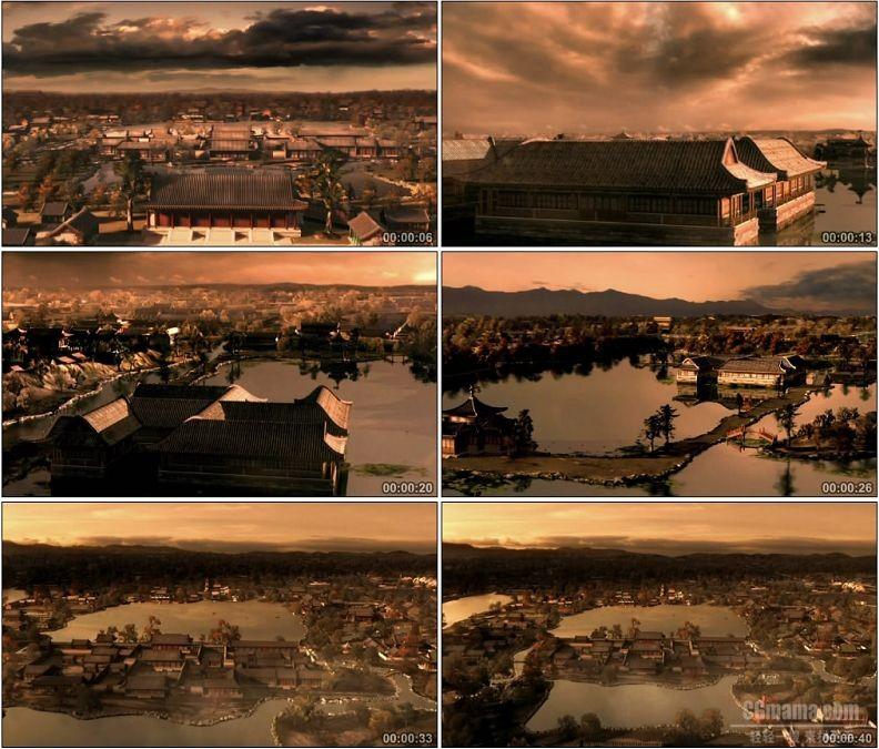 YC1521-三维建筑动画雍正时期圆明园古代园林风光鸟瞰高清视频素材