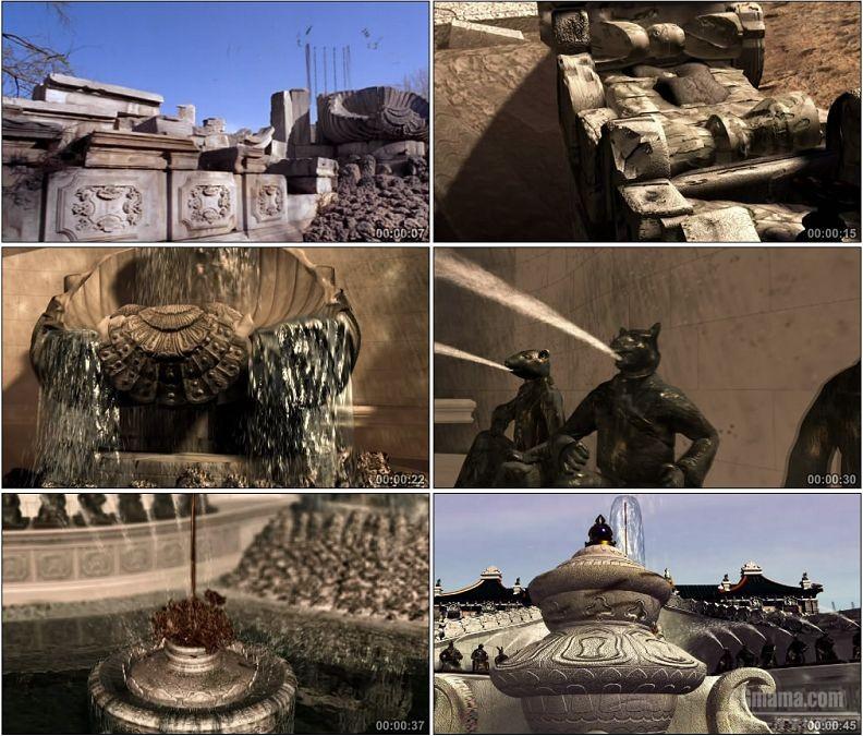 YC1525-三维建筑生长动画圆明园十二生肖铜首喷泉海晏堂全貌还原高清视频素材