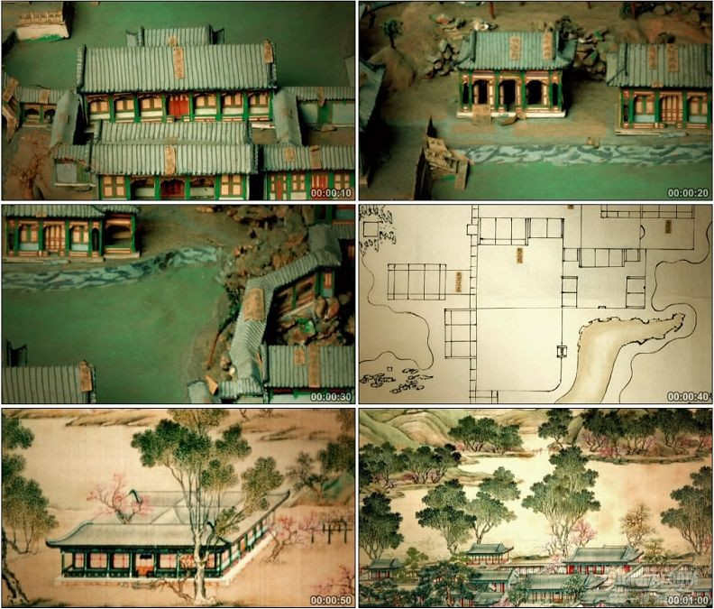 YC1531-中国古代清代圆明园建筑仿真模型景观高清实拍视频素材