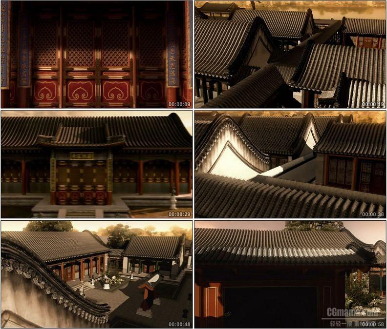 YC1532-中国古代三维建筑动画圆明园建筑漫游九州清晏园林景观高清视频素材