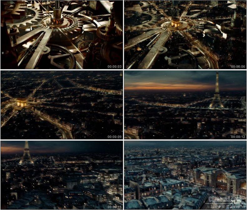 YC1538-齿轮巴黎城市夜景美丽景色小高清实拍视频素材