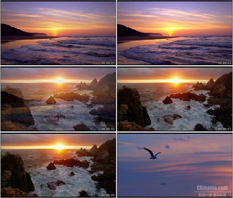 YC1560-朝阳日出大海海浪海上夕阳海鸥自然景观高清实拍视频素材