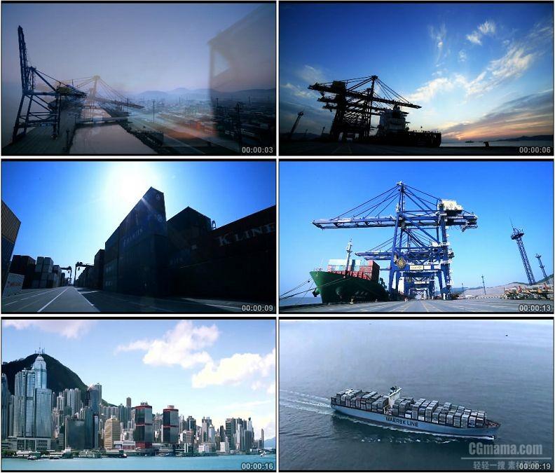 YC1563-城市港口物流货轮码头高清实拍视频素材