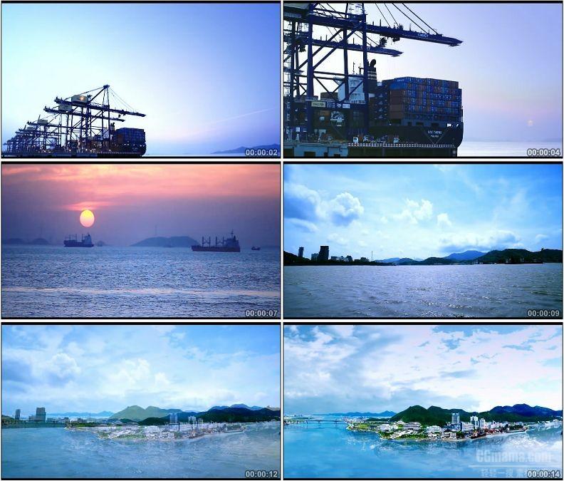 YC1564-大海港口物流货轮码头运输高清实拍视频素材