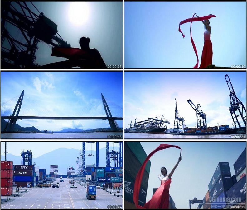 YC1568-港口物流码头运输货车吊车延时镜头集装箱跳舞舞者舞蹈