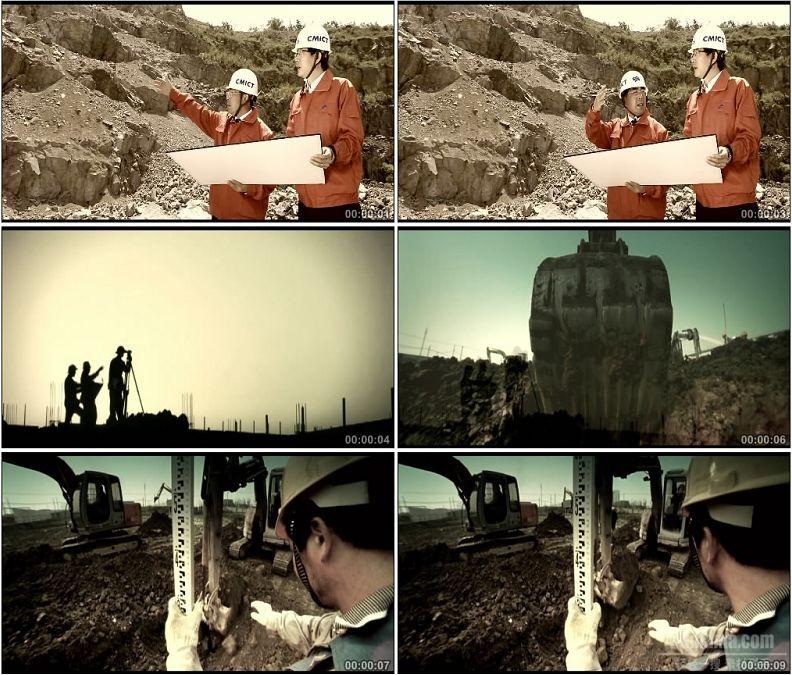 YC1576-工人施工勘探挖掘机挖土高清实拍视频素材