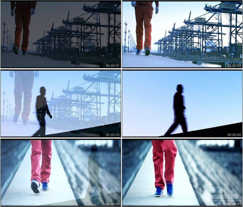 YC1577-工人剪影脚步走路特写人物形色高清实拍视频素材