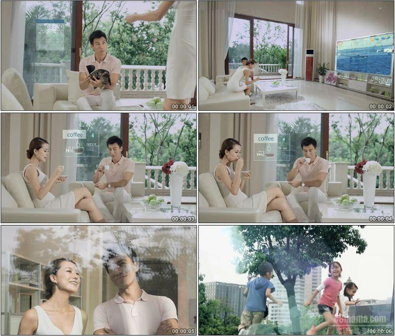 YC1594-智能科技现代化生活一家三口幸福美满生活高清实拍视频素材
