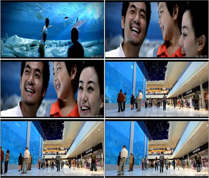 YC1598-海洋馆一家人幸福的笑容人物生活高清实拍视频素材