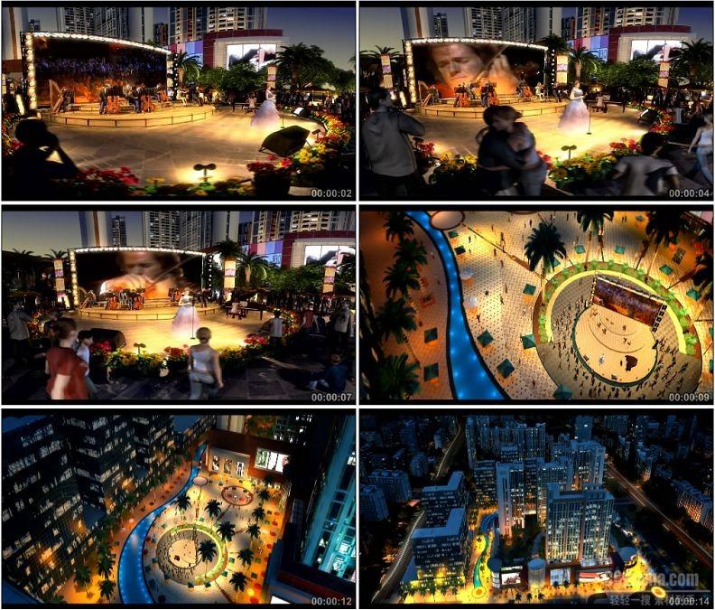YC1602-城市广场演出歌剧生活高清实拍视频素材