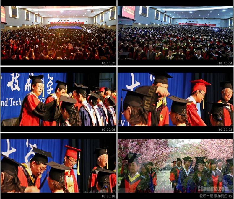 YC1606-大学生毕业典礼学士服扔学士帽颁发学位证书高清实拍视频素材