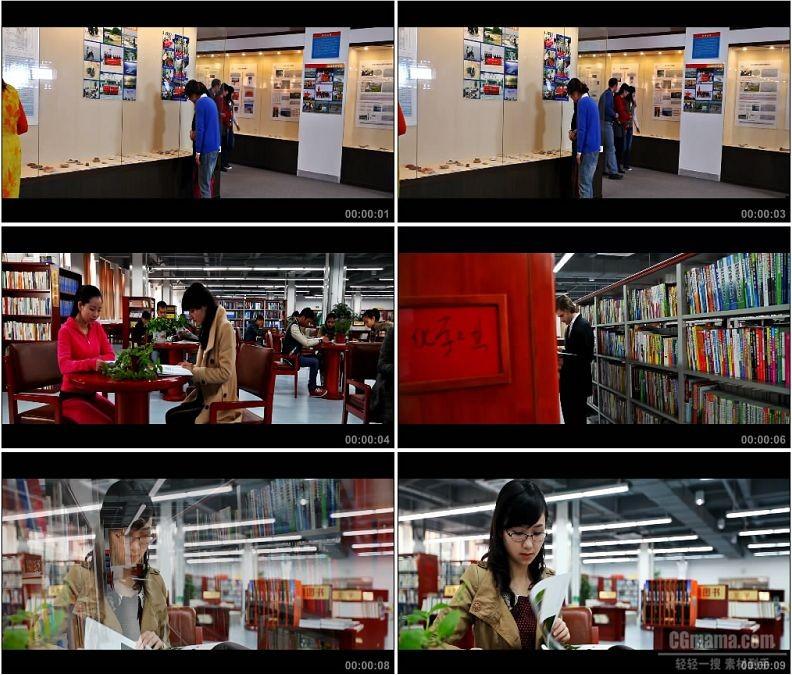 YC1609-大学校园大学生毕业展图书馆看书学习高清实拍视频素材