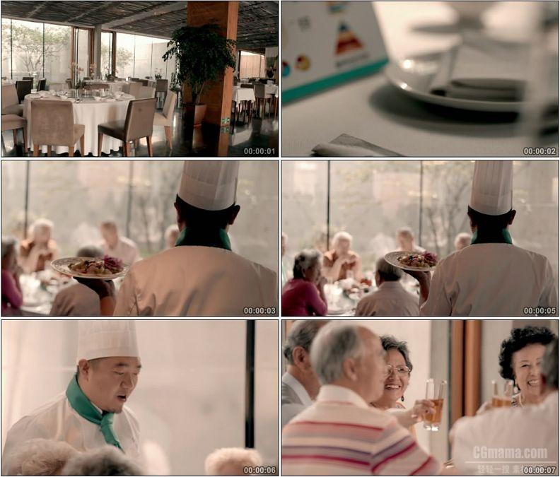 YC1613-餐厅老人吃饭就餐高清实拍视频素材