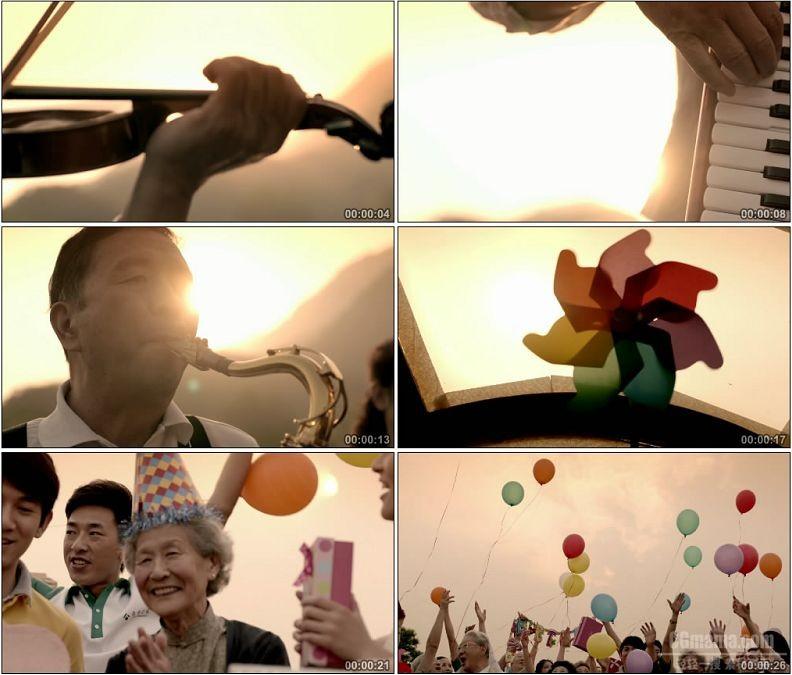 YC1616-老人登山看日出演奏跳舞拉小提琴放气球高清实拍视频素材