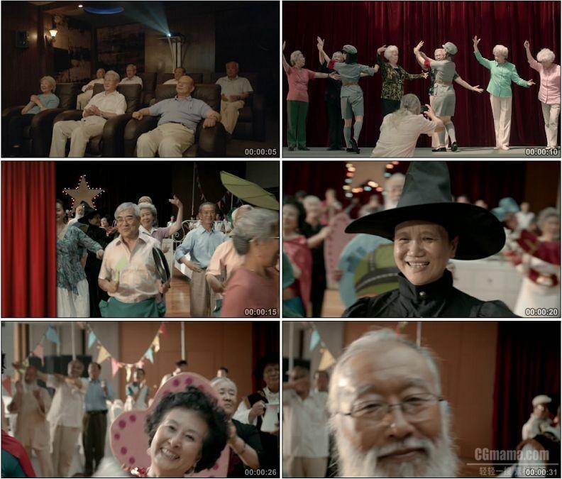 YC1620-老人剧场看红色娘子军演奏联欢会化妆舞会高清实拍视频素材