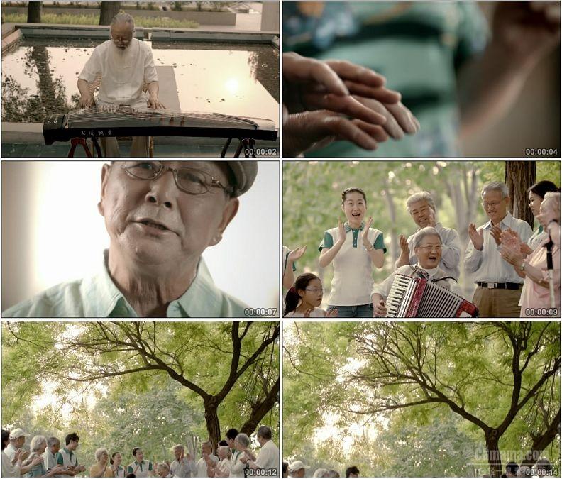 YC1621-老人老年人演奏乐器一组弹古筝弹钢琴拉手风琴高清实拍视频素材