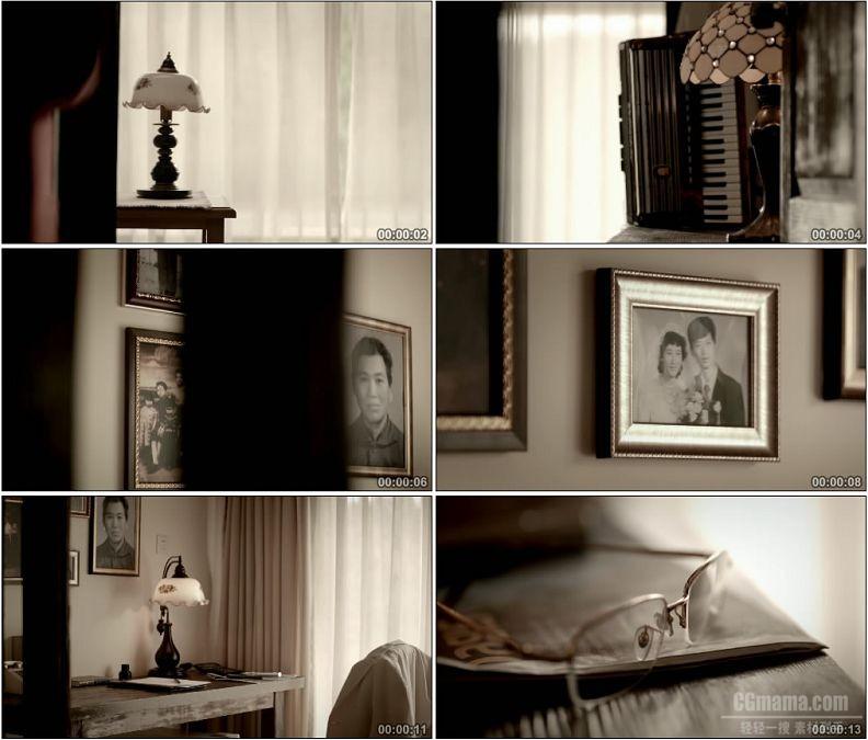 YC1623-怀旧父母挂在墙上的照片温馨高清实拍视频素材