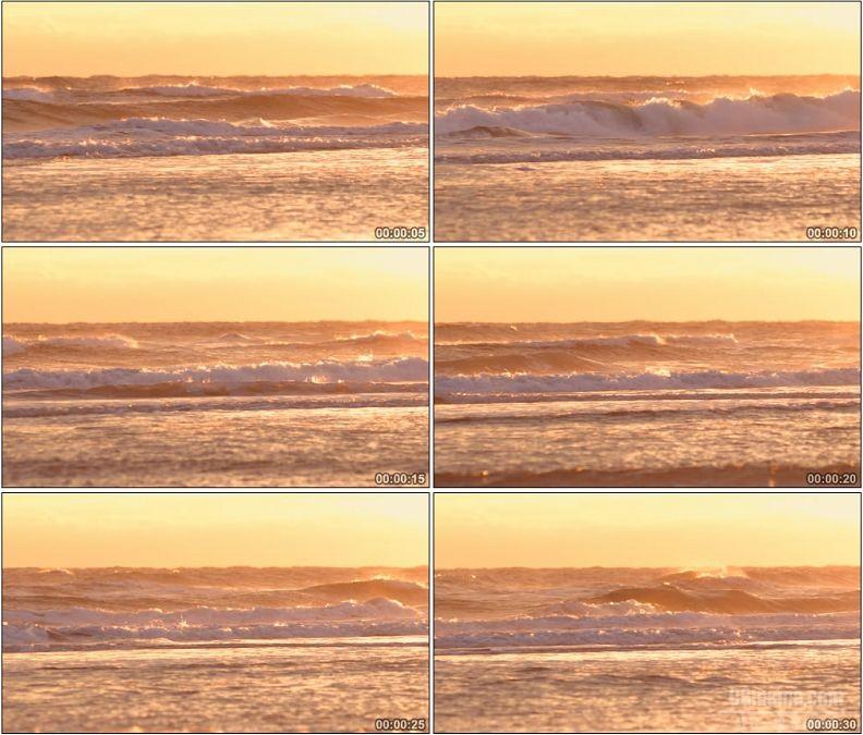 YC1674-大浪浪花海滩黄昏高清实拍视频素材