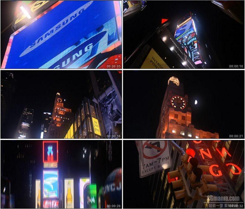 YC1675-国外城市街头霓虹街道高清实拍视频素材