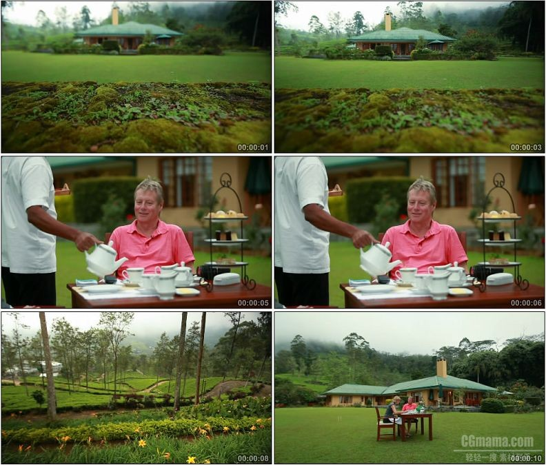 YC1700-国外小庄园喝茶养生休闲高清实拍视频素材