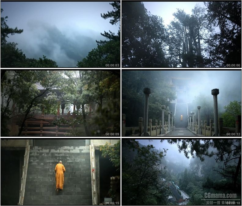 YC1714-山西空灵山寺庙云雾和尚僧侣出家人高清实拍视频素材