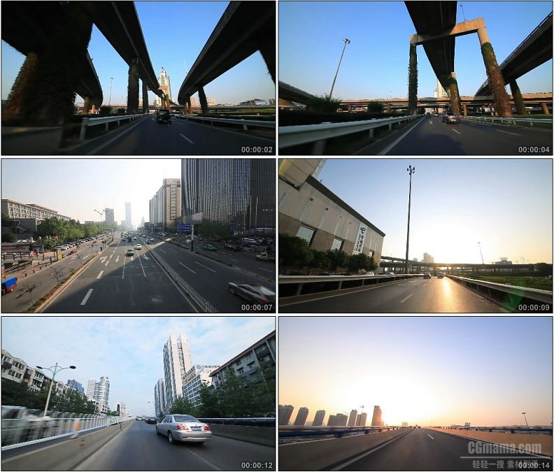 YC1729-城市交通高架桥高速公路车流高清实拍视频素材