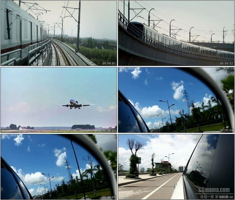 YC1749-公路铁路航空火车飞机汽车高清实拍视频素材