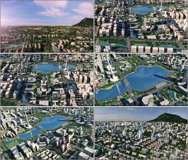 YC1759-建筑动画城市全景鸟瞰图高清视频素材