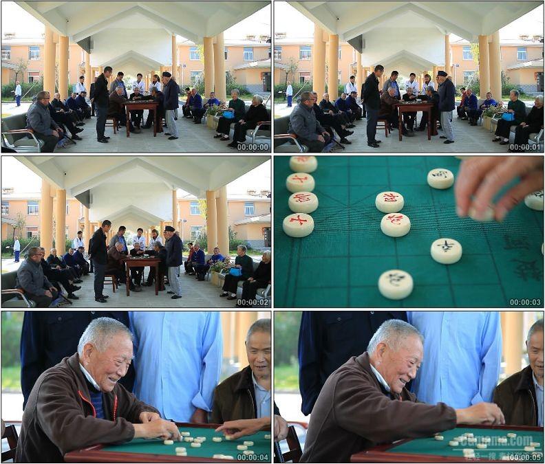 YC1763-敬老院养老院老人下象棋生活方式高清实拍视频素材