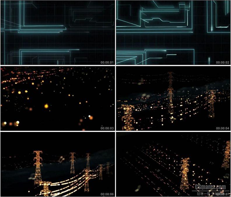 YC1768-蓝色电路网络动画金色粒子电网电塔高清实拍视频素材