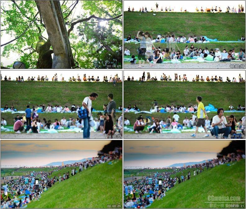 YC1771-旅游树林河滩游客野餐游玩延时拍摄高清实拍视频素材