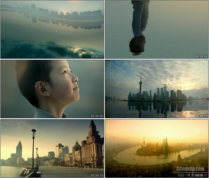 YC1778-清晨日出美丽上海东方明珠黄浦江城市鸟瞰美景高清实拍视频素材