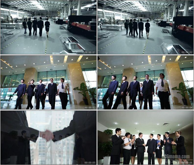 YC1782-商业合作成功商务人士握手向前走高清实拍视频素材