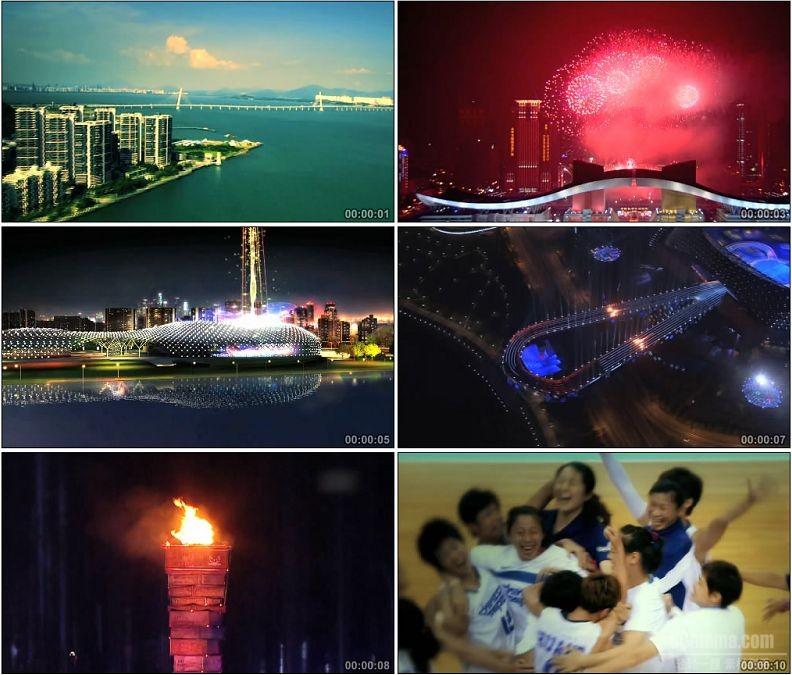 YC1787-深圳26届夏季大学生运动会开幕式精彩瞬间高清实拍视频素材