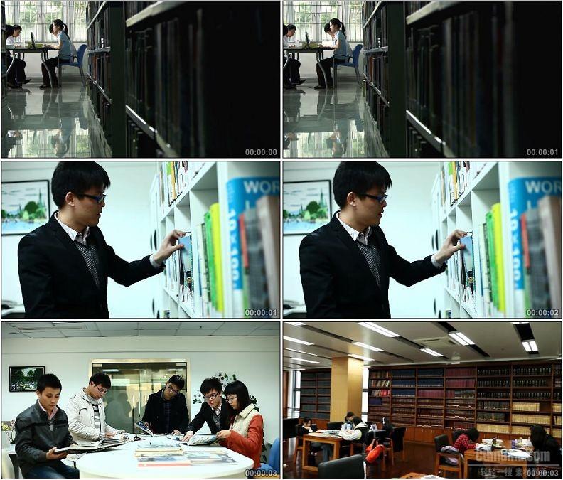 YC1790-图书馆阅览室读书看书学习高清实拍视频素材