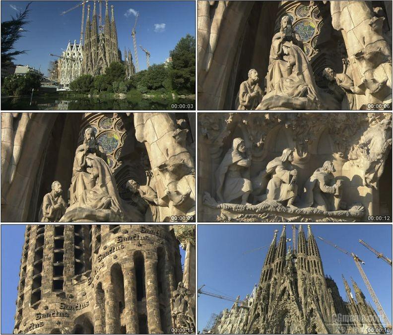 YC1796-西班牙美丽教堂建筑风光神像雕塑高清实拍视频素材