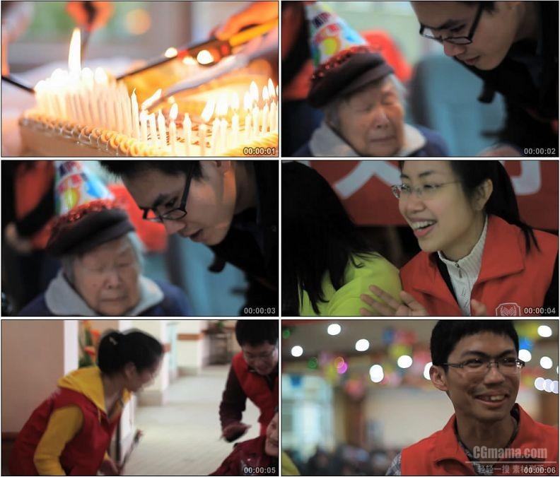 YC1813-义工养老院给孤寡老人过生日高清实拍视频素材