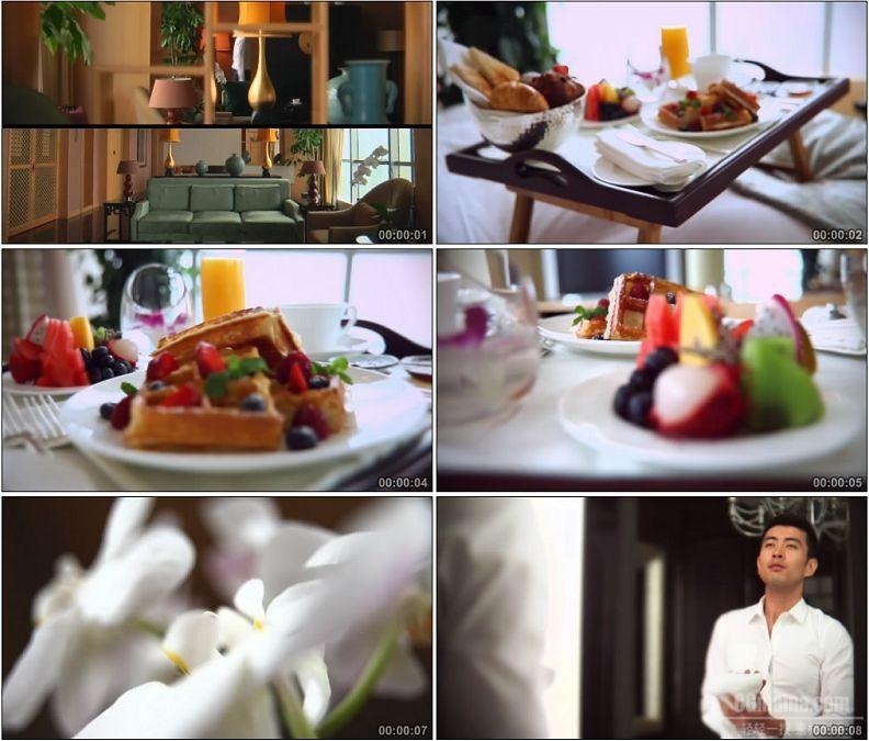 YC1885-国际高端商务酒店早餐客房衣帽间换衣小高清实拍视频素材