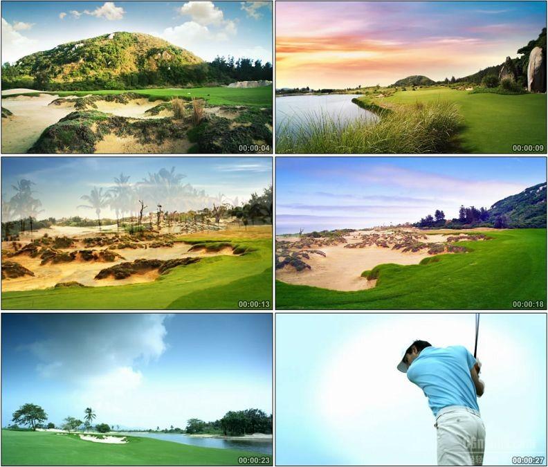 YC1888-海南绿岛沙坑景观高尔夫球场小高清实拍视频素材