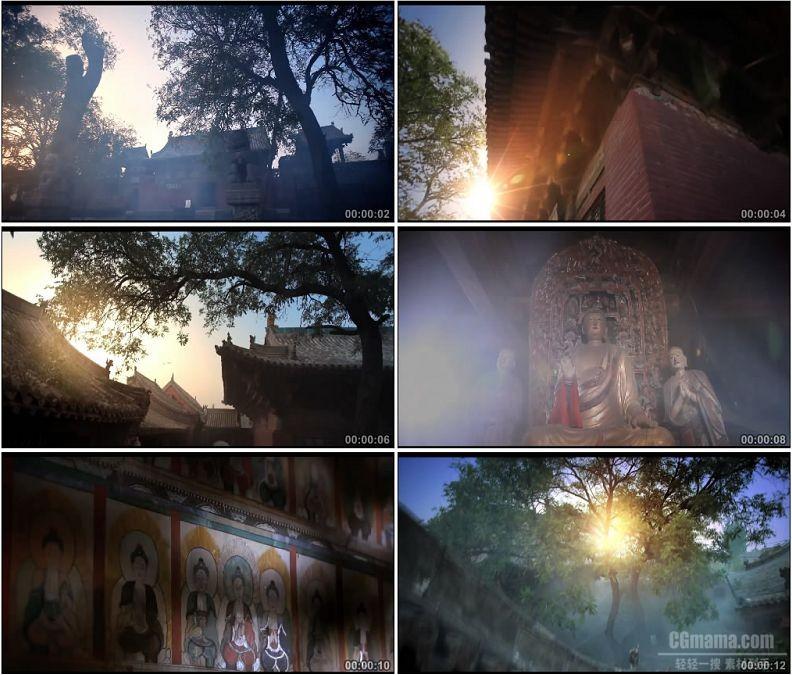 YC1831-山西平遥镇国寺佛像寺庙庙宇阳光普照大树高清实拍视频素材