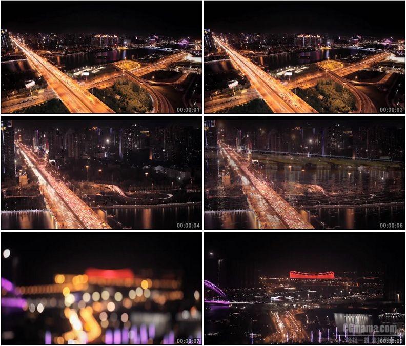 YC1835-山西太原长风桥城市夜晚交通车流汽车公路高清实拍视频素材
