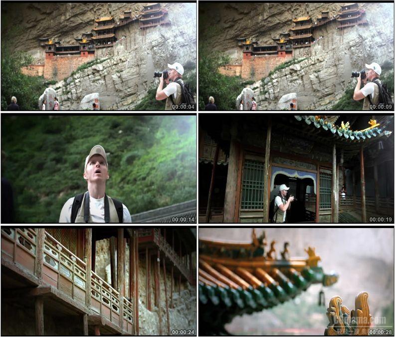 YC1842-山西浑源恒山悬空寺壮观云海老外参观摄影高清实拍视频素材