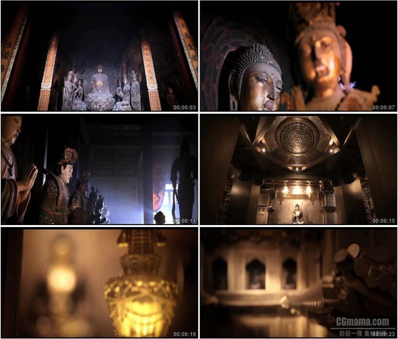 YC1843-寺庙佛像观音像香火高清实拍视频素材