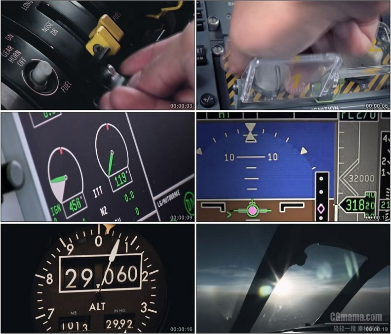 YC1868-飞机驾驶舱仪表盘飞行员操作驾驶飞机高空飞行高清实拍视频素材
