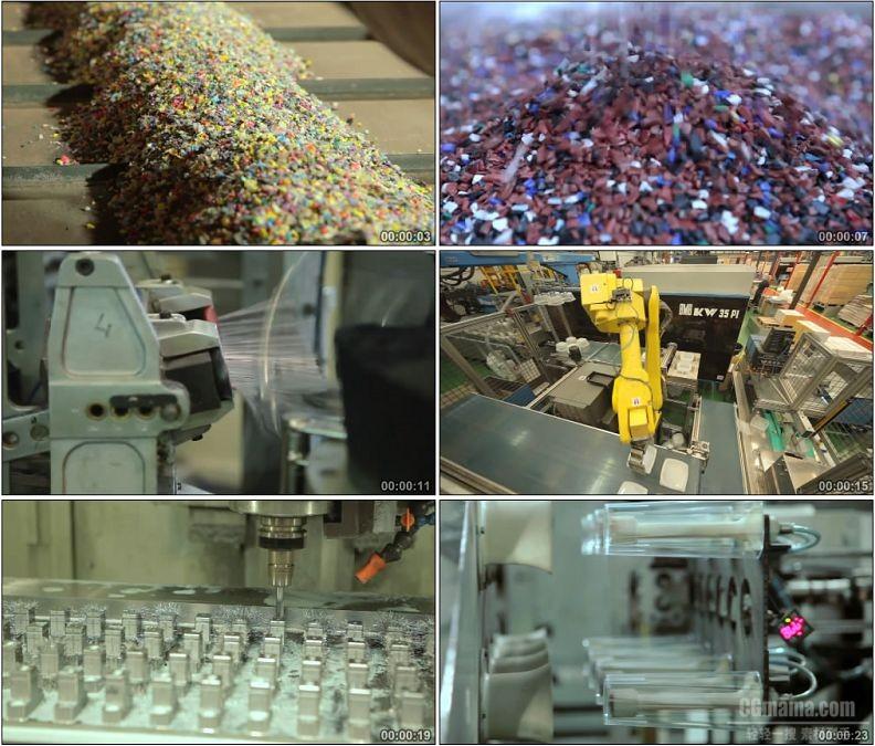 YC1869-废旧塑料再回收利用分类降解生产塑料颗粒生产塑料制品小高清实拍视频素材