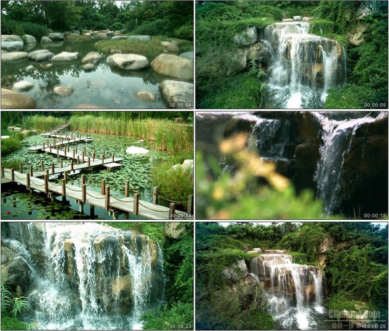 YC1892-溪水溪流瀑布小桥自然景观小高清实拍视频素材