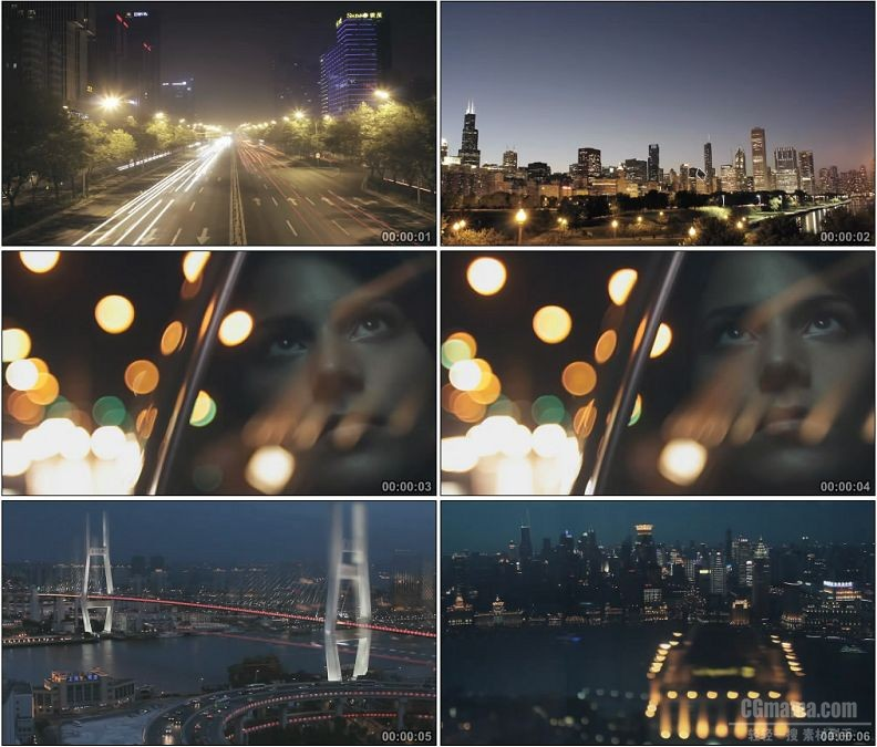 YC1898-美丽城市夜景灯光幻影高清实拍视频素材