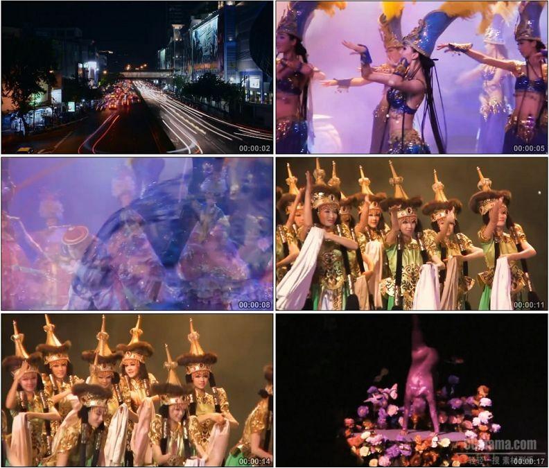 YC1899-城市夜景车流歌舞表演杂技高清实拍视频素材